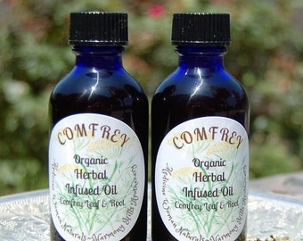 Organic COMFREY Herbal INFUSED Oil, 2oz bottle. Organic oils infused with Organic Comfrey and Comfrey Root. Salves, Balms, Skin Care, DIY.