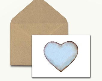 Blue Heart Note Cards – Boxed Set of 10 With Envelopes