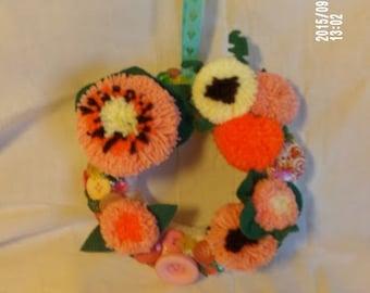 Medium Wreath with Orange and Yellow Pompom and Felt Flowers