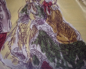 1950's Novelty Print Victorian Country Scene Scarf