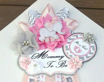 Baby Girl Elephant Pink Gray Themed Mommy To Be Baby Shower Corsage