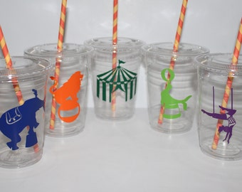 Circus party cups, Circus party, Circus party favors, kids birthday party, set of 12 plastic cups with lids