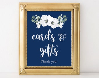 PRINTABLE Cards and Gifts Sign, Wedding Cards Reception Sign, Floral Wedding Decor, Navy Blue & White Flowers, INSTANT DOWNLOAD
