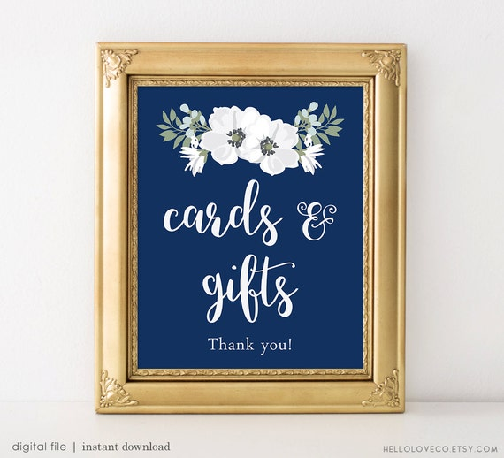 Printable Cards And Gifts Sign Wedding Cards Reception Sign