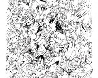 """Original drawing """"Thousand hands"""""""
