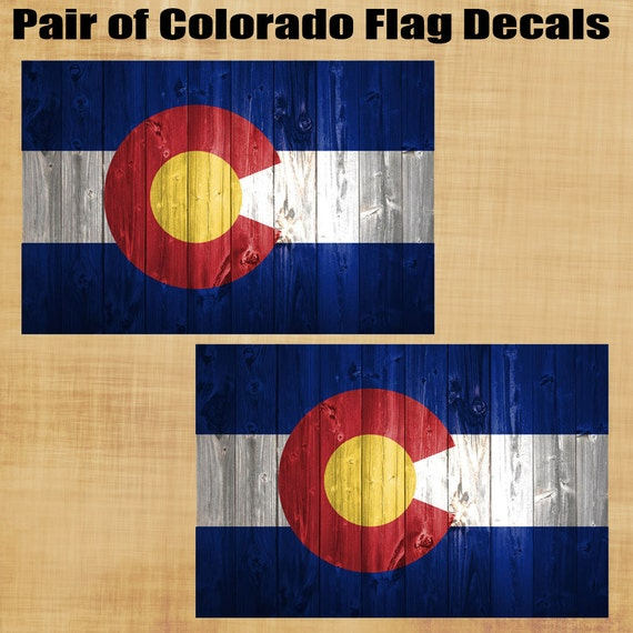 Colorado State Flag with Wood Effect look decal sticker set