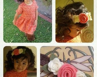 Felt Flowers on elastic lace headband
