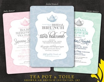 TEA POT & TOILE . brunch or shower invitation