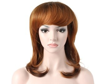 "20"" Slight Curly w/ Fringe - Full Head Beautiful Long Curly Wave Stunning Wig Charming Curly Costume Wig (TT1/27S/613)"