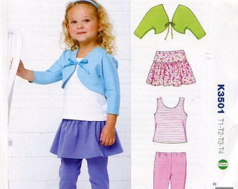 Free Us Ship Sewing Pattern Kwik Sew 3501 Toddler Girls Size 1 2 3 4 Shrug Skirt Tank Top Leggings 2014  Out of Print