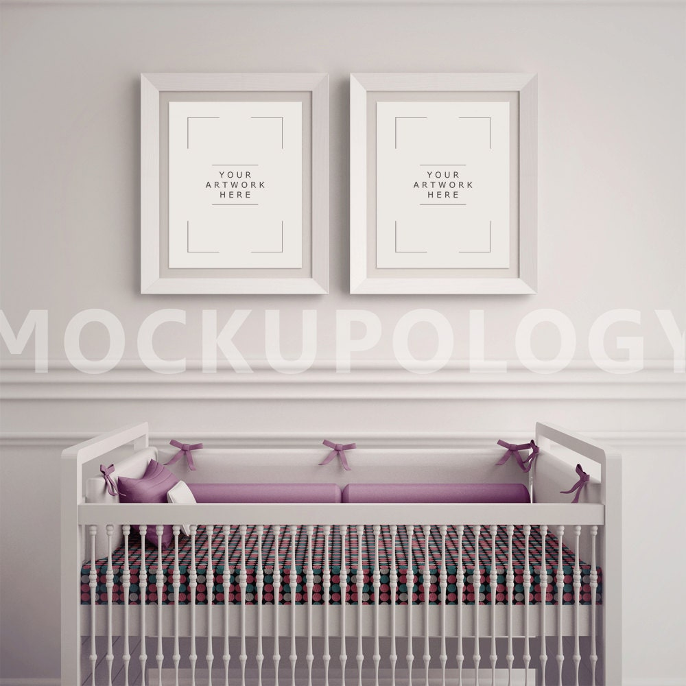 8x10 white frame nursery interior mockup baby cradle styled photography poster mockup plain wall background instant download