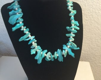 Coral Necklace - Teal Necklace - Orange Necklace - Funky Necklace