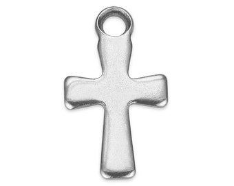 10 Pieces Steel Charms Cross  7x12 mm (STF400116)