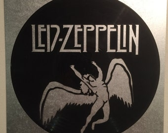 "Led Zeppelin vinyl record wall art - upcycled from an original 12"" vinyl record"
