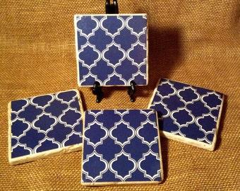 Navy Blue Lattice 4 Piece Coaster Set