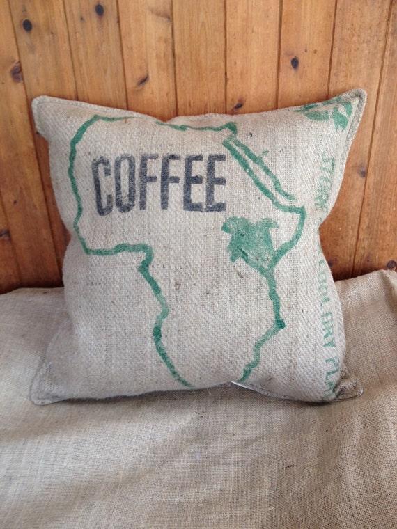 Authentic burlap african coffee bag decorative stuffed pillow for Decorative burlap bags