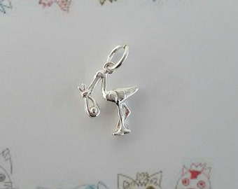 Sterling Silver (925) Stork with Baby Charm
