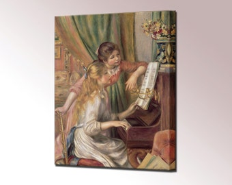 Young Girls at the Piano Canvas Print Framed by Renoir Wall Art Picture Ready To Hang