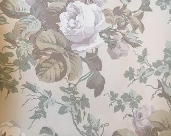 Vintage Wallpaper Nuetral Floral Gray Tan and Green
