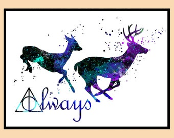 Harry Potter, Stag Patronus, watercolor print, always together ,Kids Room Decor,Poster, wall art, print, gift , Instant Download