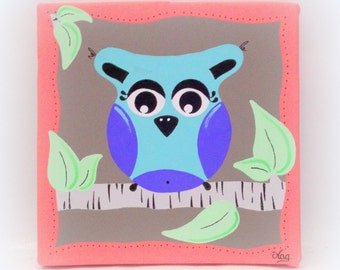 Table nice OWL for room decoration child baby girl or boy, coral Mole, canvas 20x20cm handpainted, table OWL