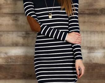 Elbow patch trim striped dress