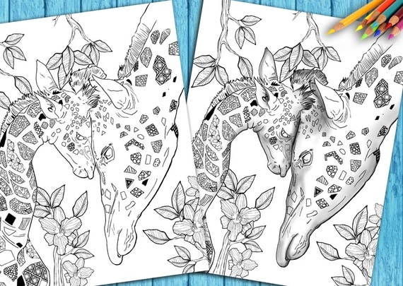 Adult Coloring Book Page From For Adults Animal Art Colouring Download