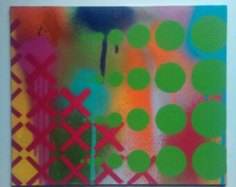 Modern abstract colour stencil spray painting