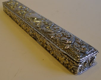 Long Antique English Sterling Silver Box, Chester 1900