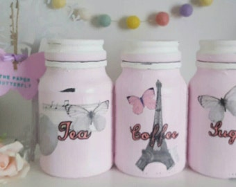 Paris tea coffee sugar jars, paris kitchen canisters, kitchen storage, pink kitchen decor, paris jars, paris jars, gift for new home, paris