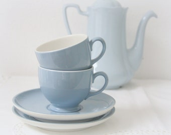 Set of Two Vintage Dutch Petrus Regout Cup and saucers, Steel Blue, Holland