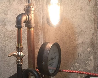 Steampunk-Lighting-Industrial Lighting-Steampunk Lighting-Steampunk Lamp-Desk Lamp-Pipe Light-Home Decor-Industrial Chic-Accent Lamp-Mancave