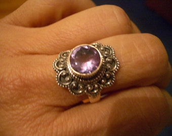 Sz 6, JUNE Stone Colorchanging  ALEXANDRITE (Lab) Round Faceted Gemstones, 925 Solid Sterling Silver Ring Jewellery.