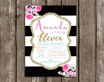Stripe Invitation Etsy - Black and white striped birthday invitations