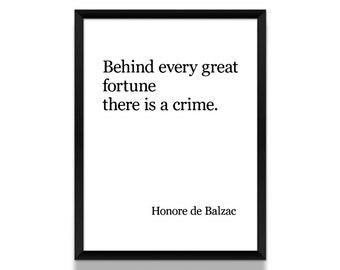 Honore de Balzac Poster, Black and White Poster, Literature Poster, Literary Gift