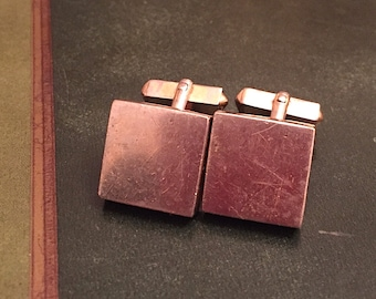 Vintage 1950s Square Front Classic Gold Toned Cuff Links by Swank Formal Wedding Dad Steampunk
