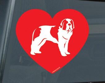 Love Saint Bernard Die Cut Vinyl Sticker st. st - 1303