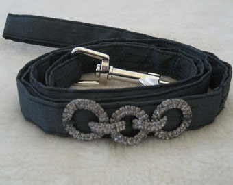 Dog Leash, Dog Lead, Small Dog, Charcoal with Diamante Links
