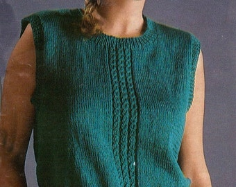 Full Figured knitted  sweater pattern, for plus size women, vintage knitting pattern from the 1980s,