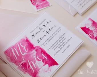 Wedding Invitation White and Pink Wedding Invitation Elegant Wedding invitation watercolor Wedding invitation [ PRICE FOR SAMPLE ]