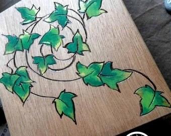Engraved wood elven Ivy box