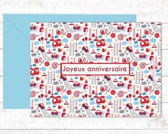 """Postcard """"Joyeux anniversaire, pompiers"""""""