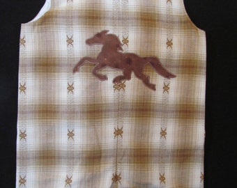 Brown Plaid Shortall with Horse Applique  Size 18 to 24 months