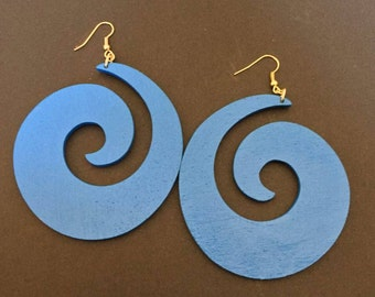 Large Blue Swirl Earrings