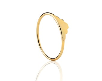 Gold plated silver ring - Gold ring - Simple gold ring - Minimal jewelry - stacking ring