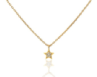 star necklace, white star necklace, Cubic Zirconia star necklace, CZ necklace, bridal jewelry, minimal necklace, floating CZ star necklace