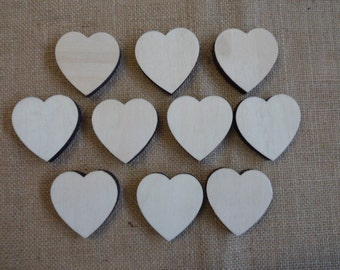 Multiple packs of 10, 50mm x50mm x 6mm Birch Hearts Unfinished