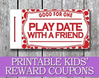 Printable Kids Coupon Book, Kids Reward Coupons, DIY Birthday Present, Good Behaviour Coupons, Children Last Minute Gift, Kids Birthday Gift