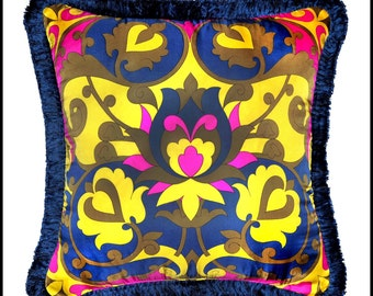 Floral Vintage Silk Pillow, Made From Vintage Burmel 100% Silk Scarf, 22x22 Pillow, One Of A Kind Pillow