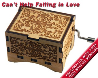 "Music Box, ""Can't Help Falling In Love"", Laser Engraved Wood Hand Crank Music Box"